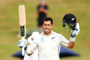 Ross Taylor acknowledges the cheer for his 17th Test century