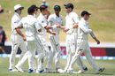 Trent Boult celebrates his 200th Test wicket, New Zealand v West Indies, 2nd Test, Hamilton, 4th day, December 12, 2017