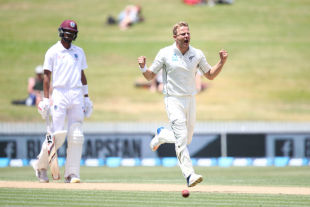 Neil Wagner is ecstatic as he sends back Shane Dowrich for a golden duck