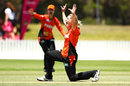 Katherine Brunt was busy on the field, with two wickets and a run-out, Sydney Sixers v Perth Scorchers, Women's Big Bash League 2017-18, Wollongong, December 12, 2017