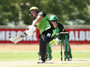 Rachel Priest goes for a heave down the ground, Melbourne Stars v Sydney Thunder, Women's Big Bash League 2017-18, Albury, December 12, 2017
