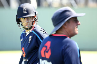 Joe Root and Trevor Bayliss in the nets at Perth