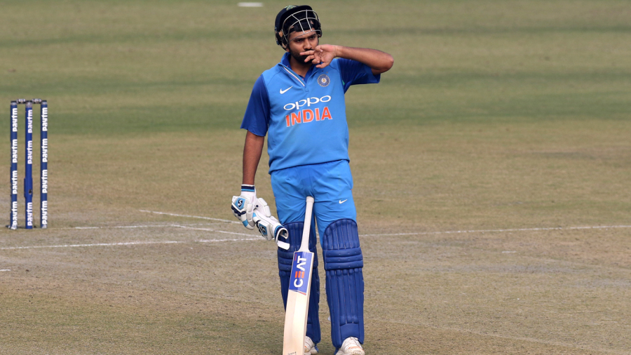 Rohit Sharma sends a flying kiss to his wife in the stands