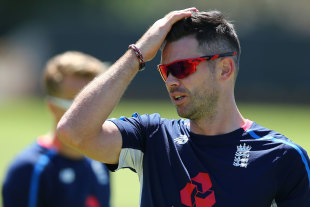 James Anderson wipes away the sweat at England training