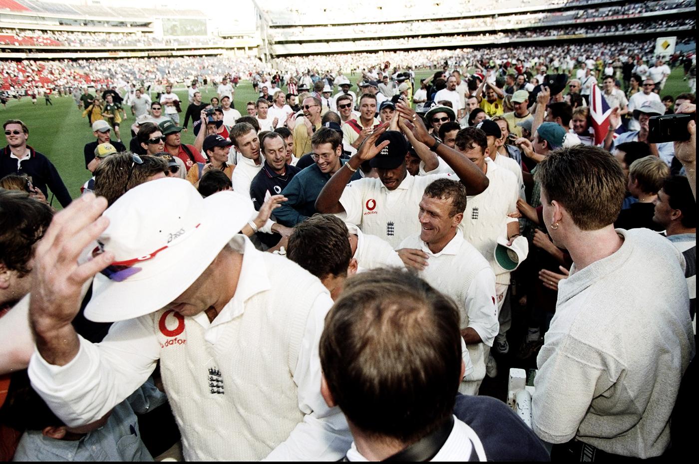 England walk back through celebrating fans