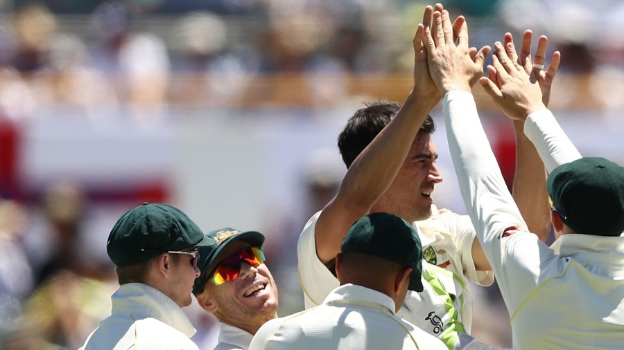 Mitchell Starc ripped out Alastair Cook with a yorker