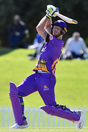 Ben Stokes drills the ball through the off side