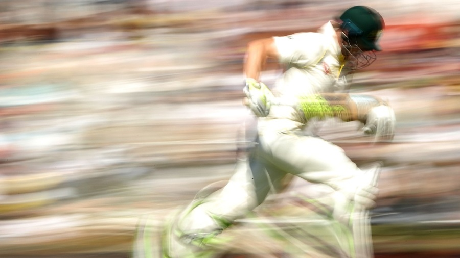 Steven Smith is a blur as he runs between the wickets