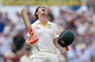 Mitchell Marsh roars after hitting his maiden Test hundred