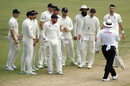 England have a chat with umpire Marais Erasmus, Australia v England, 3rd Test, Perth, 4th day, December 17, 2017