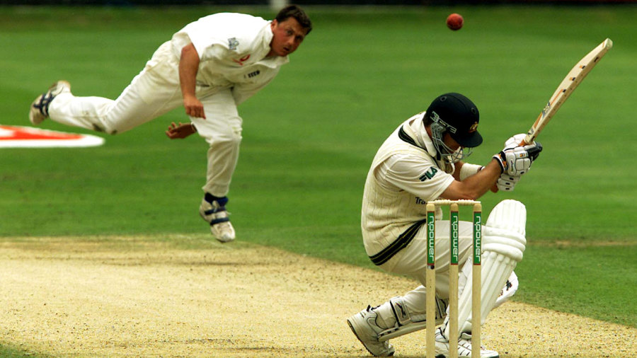 Mark Waugh avoids a Darren Gough bouncer
