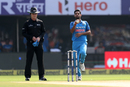 Bhuvneshwar Kumar sizes up his target in his run-up, India v Sri Lanka, 3rd ODI, Visakhapatnam, December 17, 2017