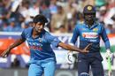 Jasprit Bumrah reacts in the field, India v Sri Lanka, 3rd ODI, Visakhapatnam, December 17, 2017