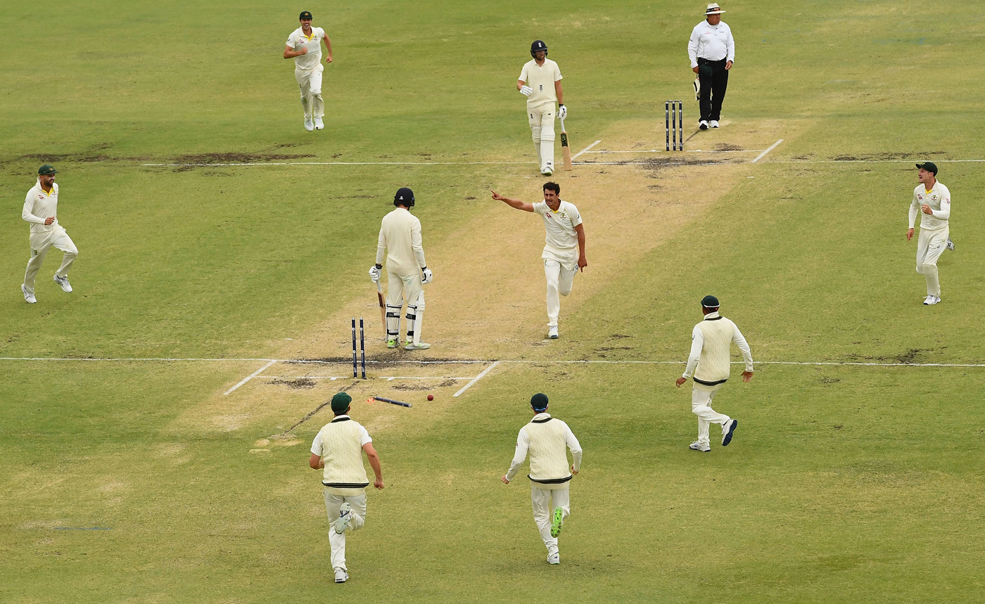 The scene after Mitchell Starc shattered James Vince's off stump from around the wicket