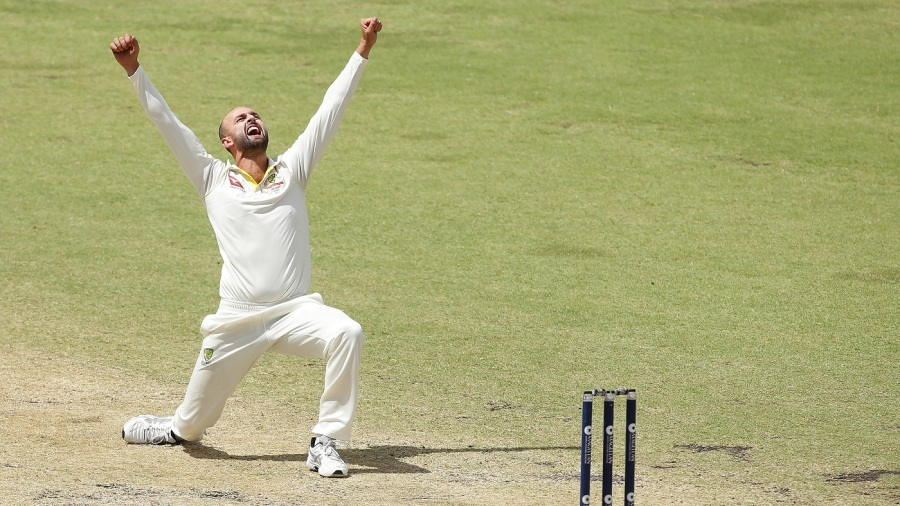 Nathan Lyon roars out an appeal