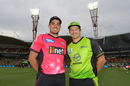 Shane Watson and Moises Henriques were all smiles ahead of the start of the tournament opener, Sydney Thunder v Sydney Sixers, Big Bash League 2017-18, Sydney, December 19, 2017