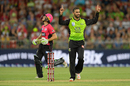 Fawad Ahmed rejoices upon dismissing Daniel Hughes, Sydney Thunder v Sydney Sixers, Big Bash League 2017-18, Sydney, December 19, 2017