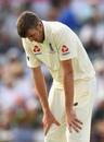 Craig Overton feels the pain of his cracked rib in the Perth Test, the WACA, December 15, 2017