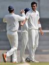Navdeep Saini celebrates a wicket, India A v Australians, tour match, 1st day, Mumbai, February 17, 2017