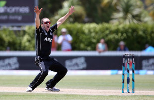 Todd Astle appeals for a wicket