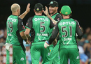 John Hastings celebrates after catching Sam Heazlett at mid-on, Brisbane Heat v Melbourne Stars, Big Bash League 2017-18, Brisbane, December 20, 2017