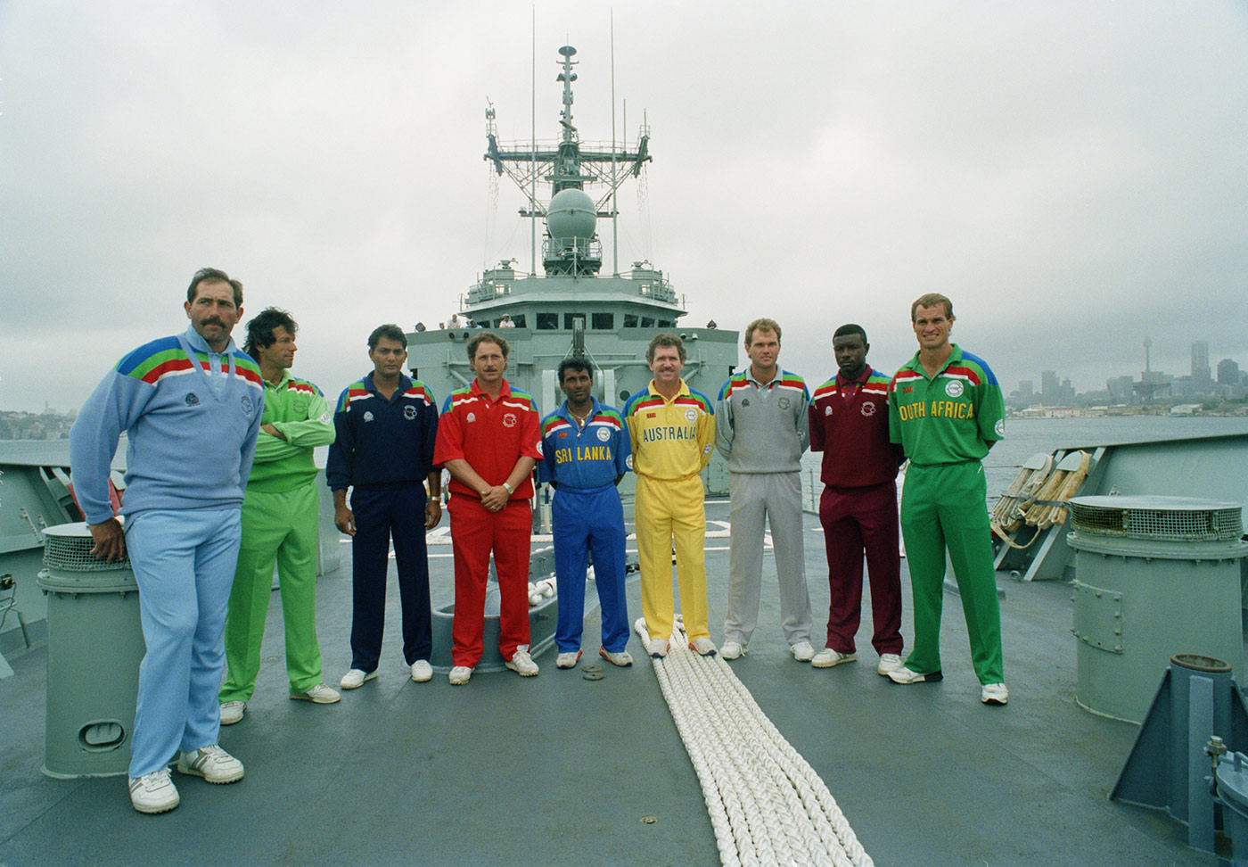 Before the fall: Azharuddin third from left with his fellow captains at the opening ceremony for the 1992 World Cup