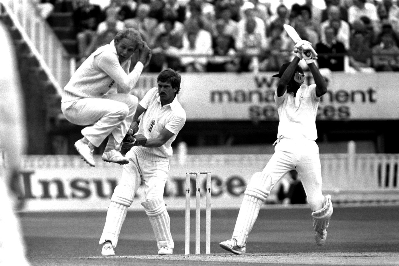 In which Azhar makes fellow stylist David Gower leap, flinching, to avoid a square cut, at Edgbaston in 1986