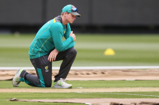 Steven Smith studies the pitch at the MCG