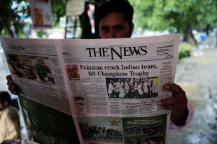 The headline in the <i>News</i> after Pakistan's Champions Trophy win