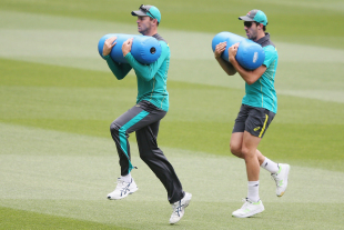 Josh Hazlewood and Pat Cummins at a training drill