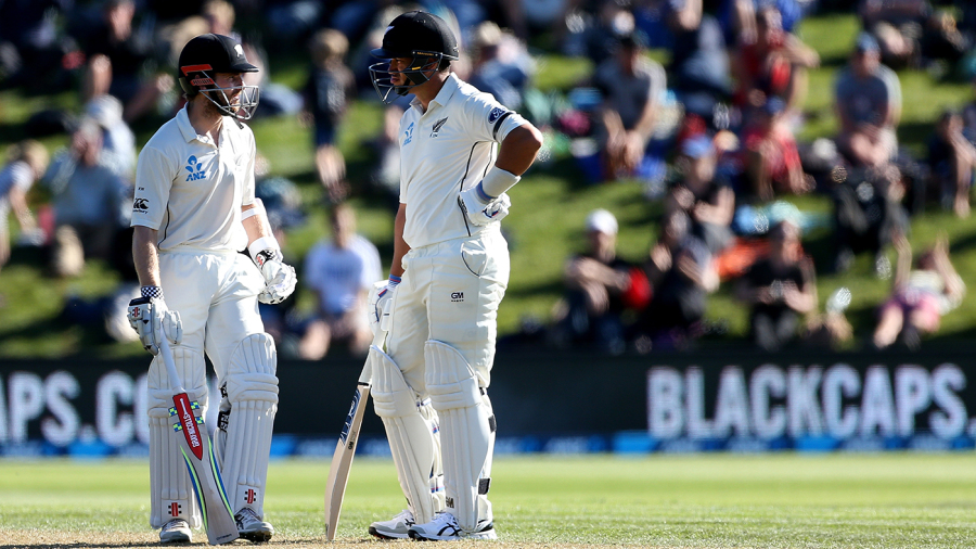 Kane Williamson and Ross Taylor have a mid-pitch chat