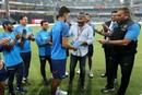 Washington Sundar receives his T20 cap from Sarandeep Singh, India v Sri Lanka, 3rd T20I, Mumbai, December 24, 2017
