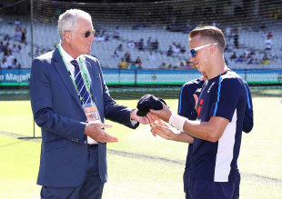 Tom Curran was handed his Test cap by Bob Willis