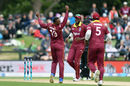 Sheldon Cottrell celebrates the dismissal of Colin Munro, New Zealand v West Indies, 3rd ODI, Christchurch, December 26, 2017