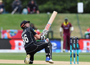 Henry Nicholls watches his scoop shot sail towards the boundary, New Zealand v West Indies, 3rd ODI, Christchurch, December 26, 2017