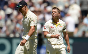 David Warner exchanged words with Tom Curran