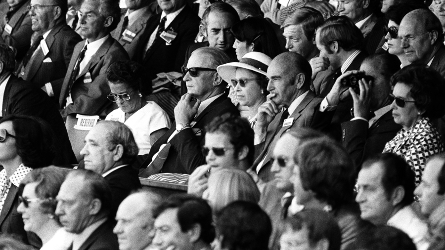 The Queen (in sunglasses and hat) also attended the historic match along with several former England and Australian cricketing greats