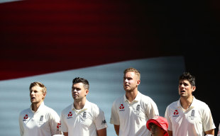 England's Joe Root, James Anderson, Stuart Broad and Alastair Cook sing the national anthem while the Australian media sings a different tune