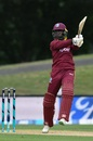Nikita Miller slashes one through the off side, New Zealand v West Indies, 3rd ODI, Christchurch, December 26, 2017