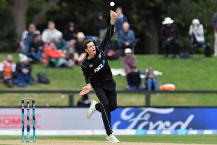Mitchell Santner tosses one up
