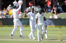 Kagiso Rabada celebrates the wicket of Chamu Chibhabha, South Africa v Zimbabwe, only Test, 2nd day, Port Elizabeth, December 27, 2017