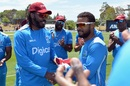 Shai Hope receives his maiden T20I cap from Chris Gayle, New Zealand v West Indies, 1st T20I, Nelson, December 29, 2017
