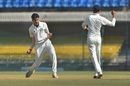 Debutant Aditya Thakare took a wicket in the final's first over, Vidarbha v Delhi, Ranji Trophy 2017-18 final, Indore, 1st day, December 29, 2017