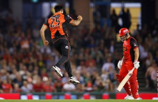 Mitchell Johnson takes to the air after taking a wicket