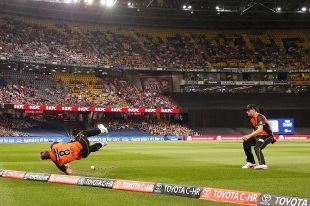 David Willey saves a boundary