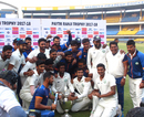 The Vidharbha team pose with the trophy, Delhi v Vidarbha, Ranji Trophy final, Indore, 4th day, January 1, 2018