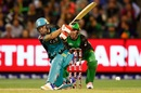 Brendon McCullum lays into a slog sweep, Melbourne Stars v Brisbane Heat, BBL 2017-18, Melbourne, January 2, 2018