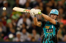 Chris Lynn has his eyes on the ball while shaping to hook, Melbourne Stars v Brisbane Heat, BBL 2017-18, Melbourne, January 2, 2018