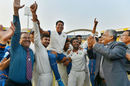 Vidarbha players hoist their head coach Chandrakant Pandit on their shoulders after historic Ranji triumph, January 1, 2018
