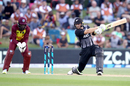 Martin Guptill plays a flat-batted drive, New Zealand v West Indies, 3rd T20I, Mount Maunganui
